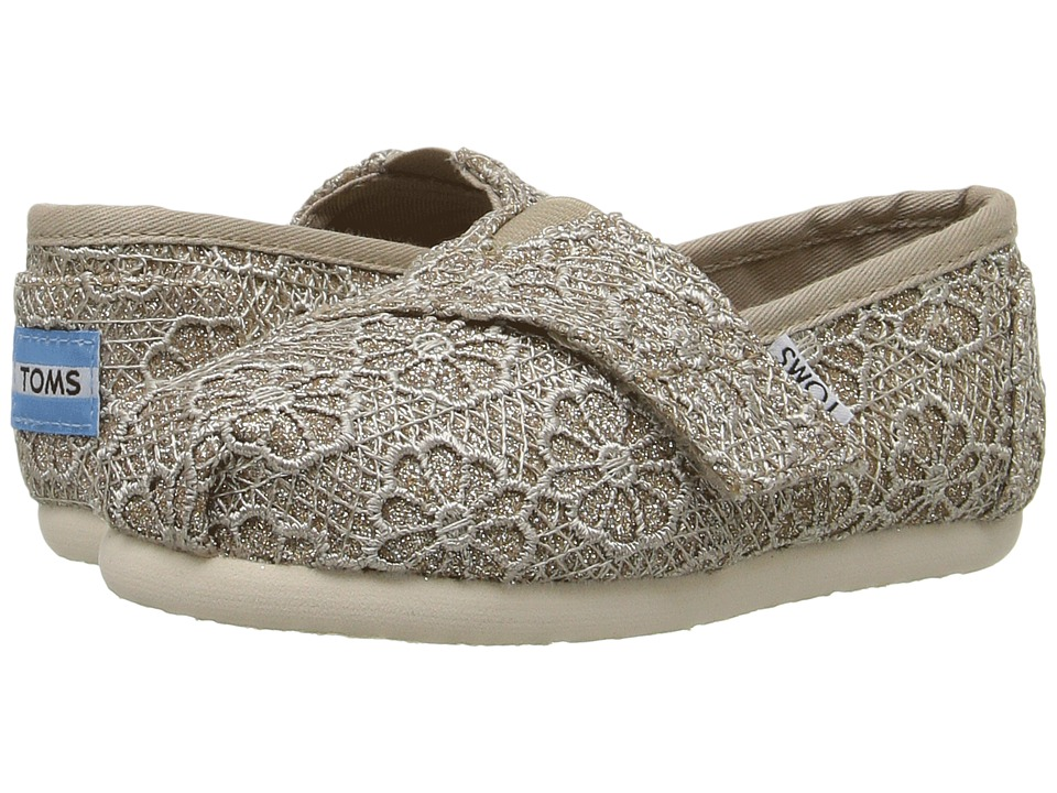 TOMS Kids - Seasonal Classics (Infant/Toddler/Little Kid) (Rose Gold Crochet Glitter) Girls Shoes