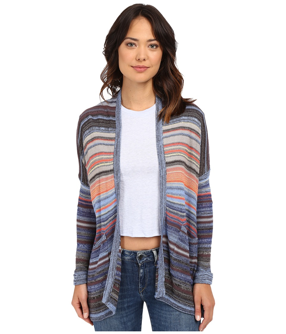 Billabong - Outside the Lines Stripe Cardigan (Chambray) Women's Sweater
