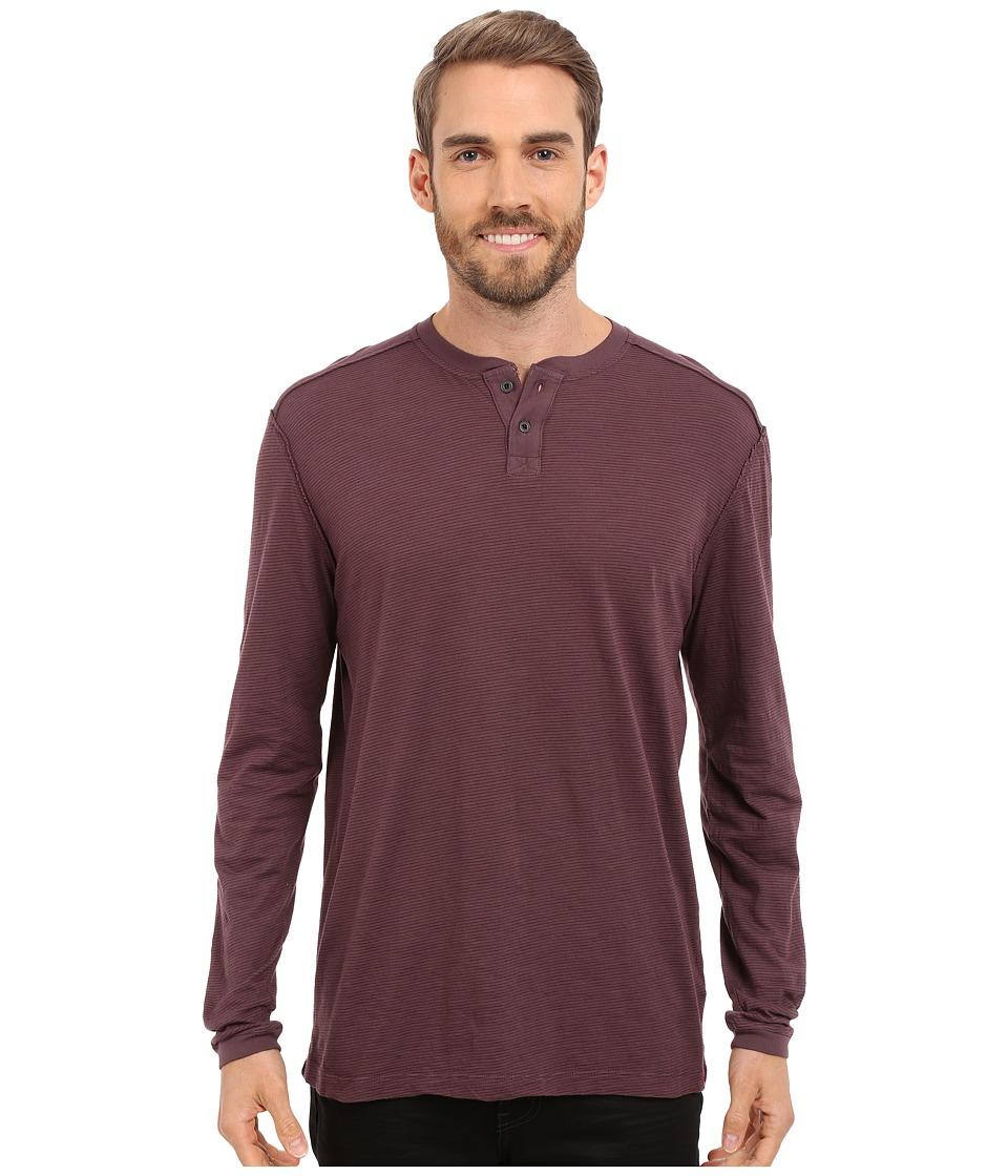 Agave Denim - Kilchis Long Sleeve Henley (Prune Purple) Men's Clothing
