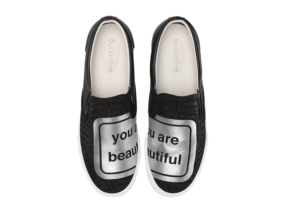 BucketFeet - You Are Beautiful (Black/Silver) Women's Slip on Shoes