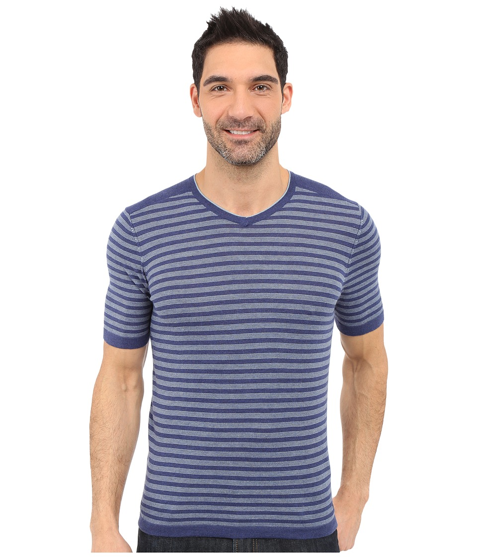 Agave Denim - Mighty Mo Short Sleeve Striped V-Neck (Deep Cobalt/Citadel) Men's Short Sleeve Pullover