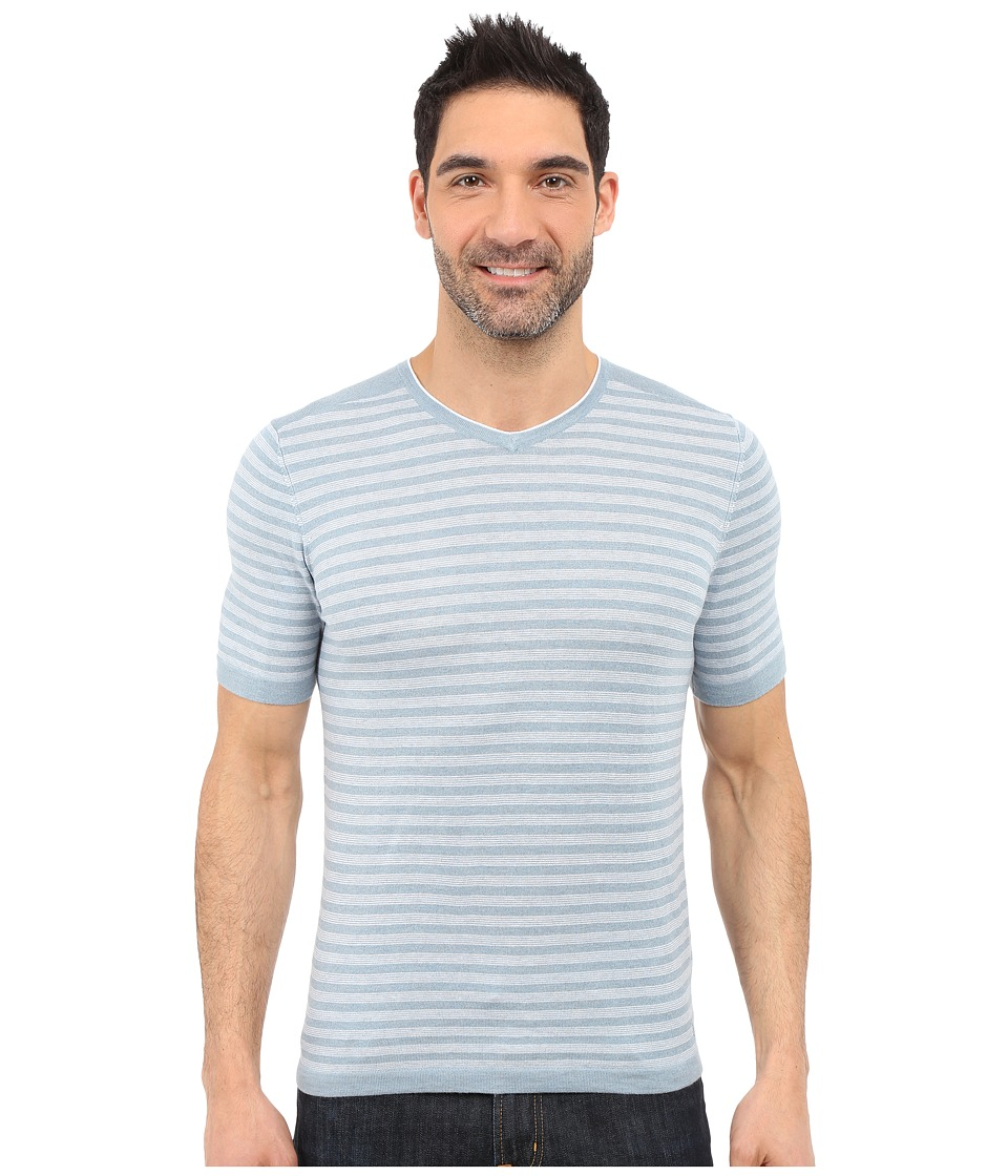 Agave Denim - Mighty Mo Short Sleeve Striped V-Neck (Citadel/White) Men's Short Sleeve Pullover