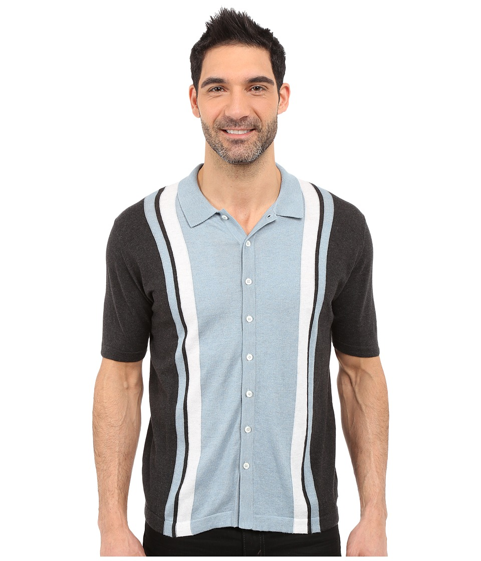 Agave Denim - Elwha Retro Short Sleeve Button Up (Anthracite) Men's Short Sleeve Button Up
