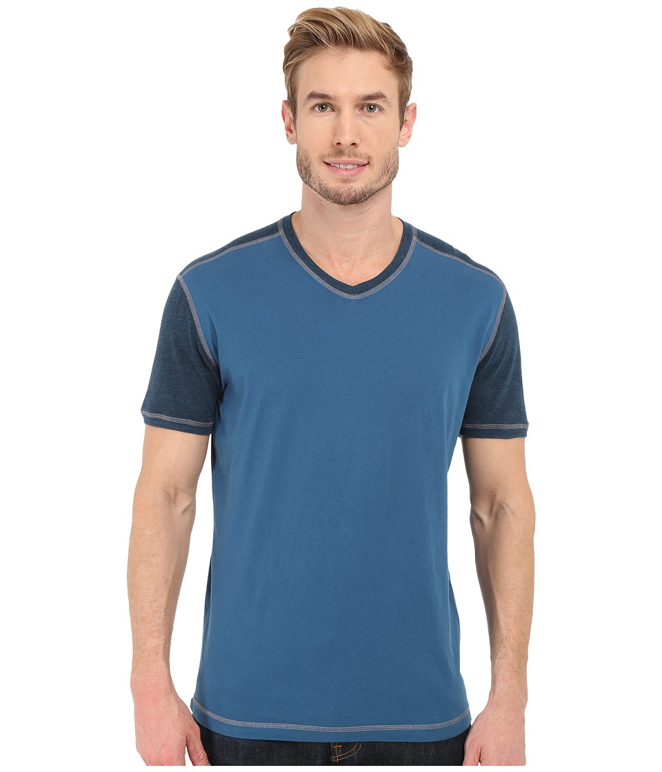 Agave Denim - Rubicon Baseball V-Neck Short Sleeve (Blue Wing Teal) Men's Short Sleeve Pullover