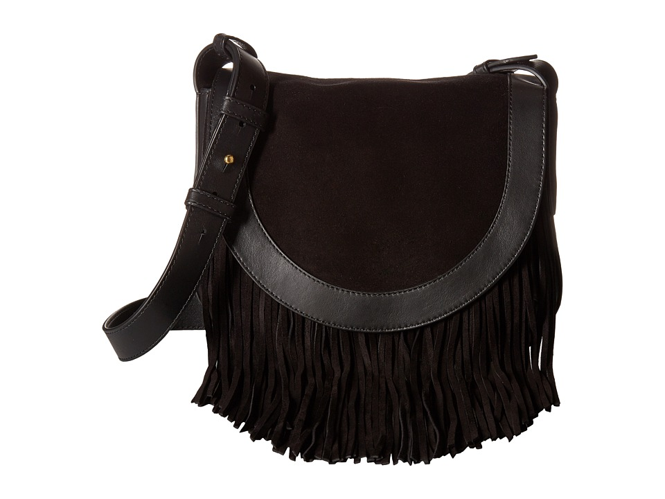 Frye - Ray Fringe Saddle (Black) Handbags