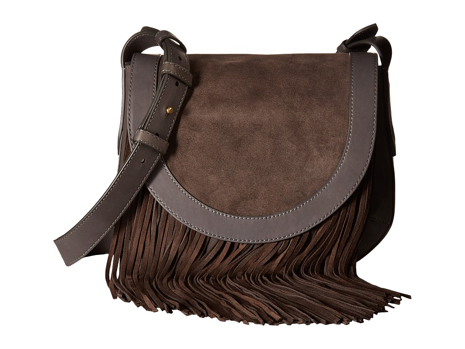 Frye - Ray Fringe Saddle (Charcoal) Handbags