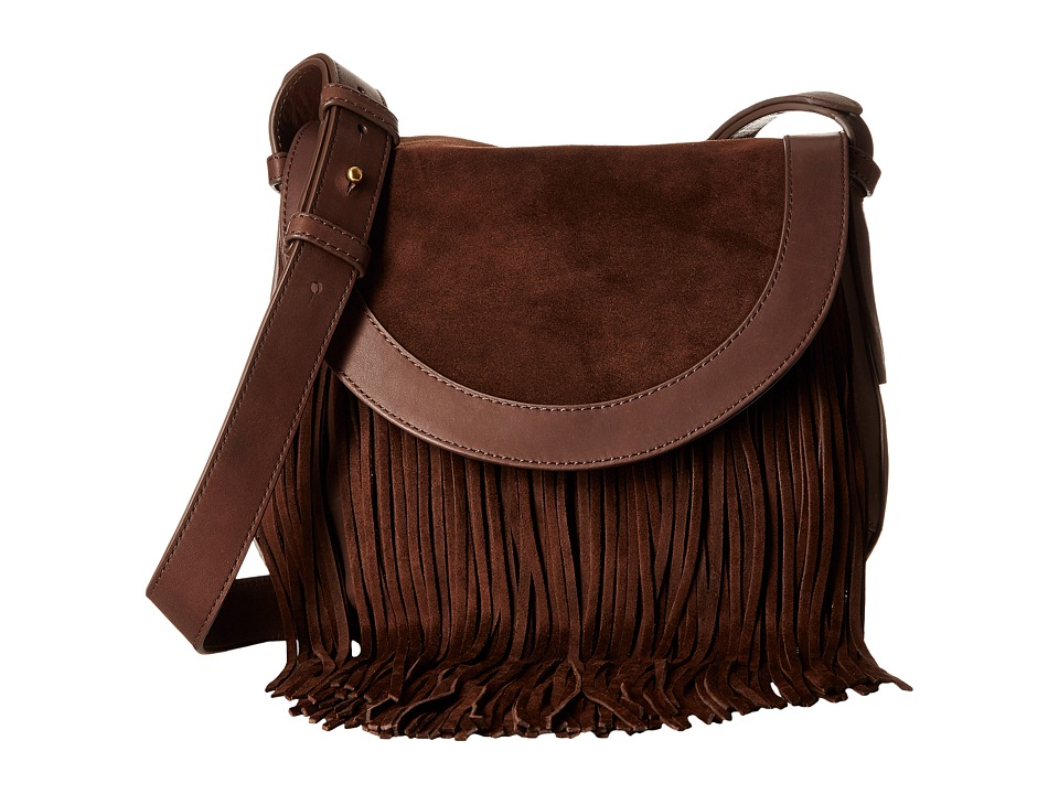 Frye - Ray Fringe Saddle (Dark Brown) Handbags