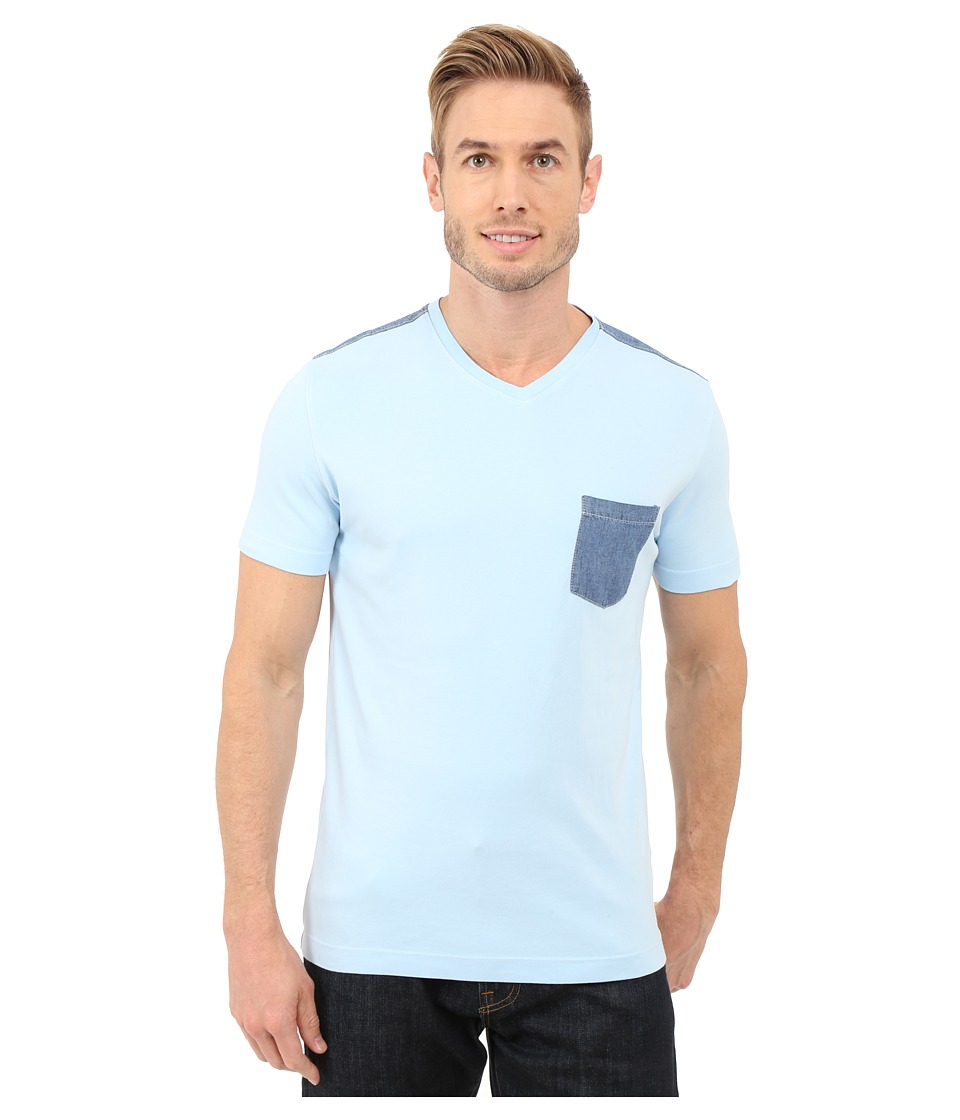 Agave Denim - Klickitat Supima V-Neck (Cool Blue) Men's Clothing