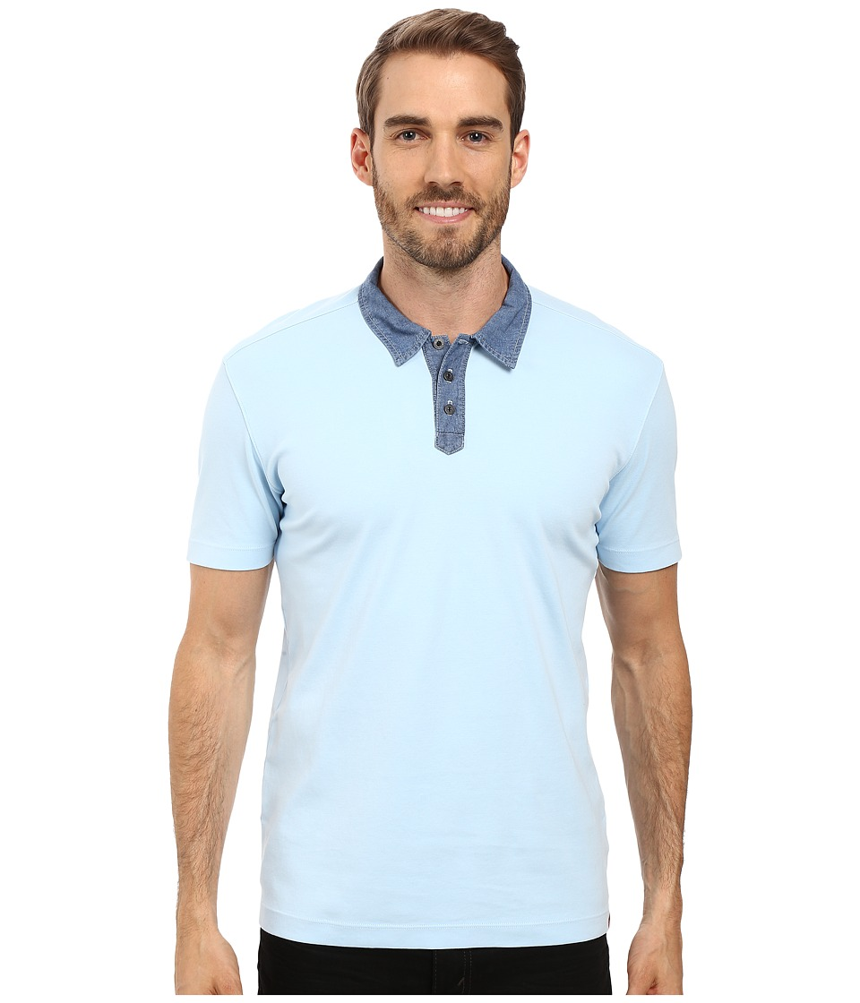 Agave Denim - Usal Short Sleeve Polo (Cool Blue) Men's Short Sleeve Pullover
