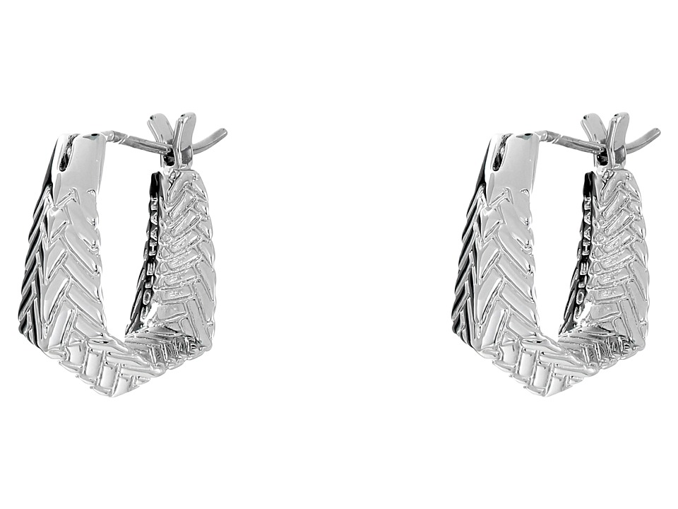 Cole Haan - Etched Basket Weave Huggie Earrings (Light Rhodium) Earring
