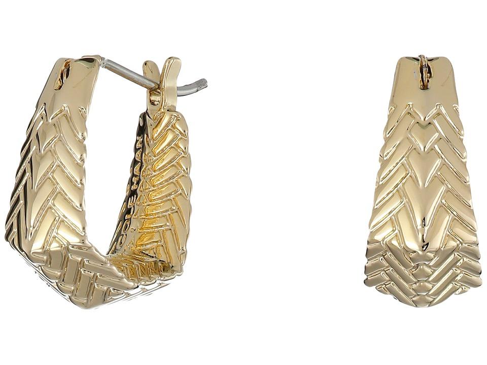 Cole Haan - Etched Basket Weave Huggie Earrings (Gold) Earring