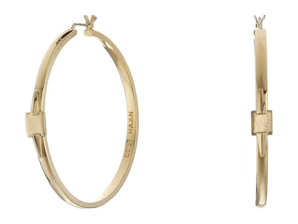 Cole Haan - Architectural Metal Hoop Earrings (Gold) Earring