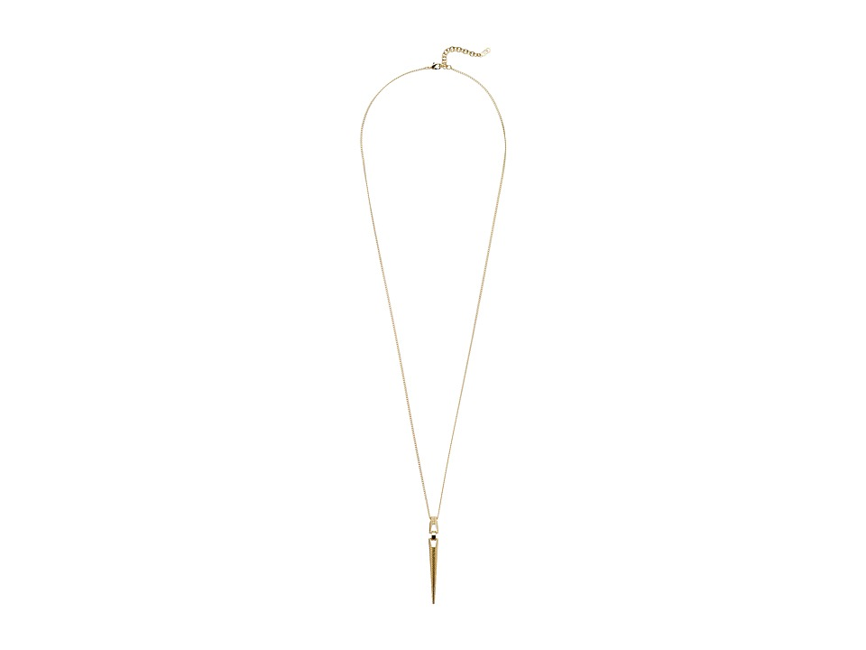 Cole Haan - Architectural Basket Weave Spike Pendant Necklace (Gold) Necklace