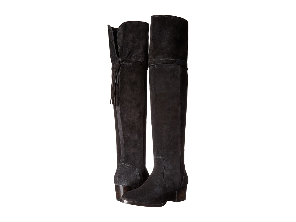 Frye - Clara Tassel Over-The-Knee (Black Oiled Suede) Women's Boots