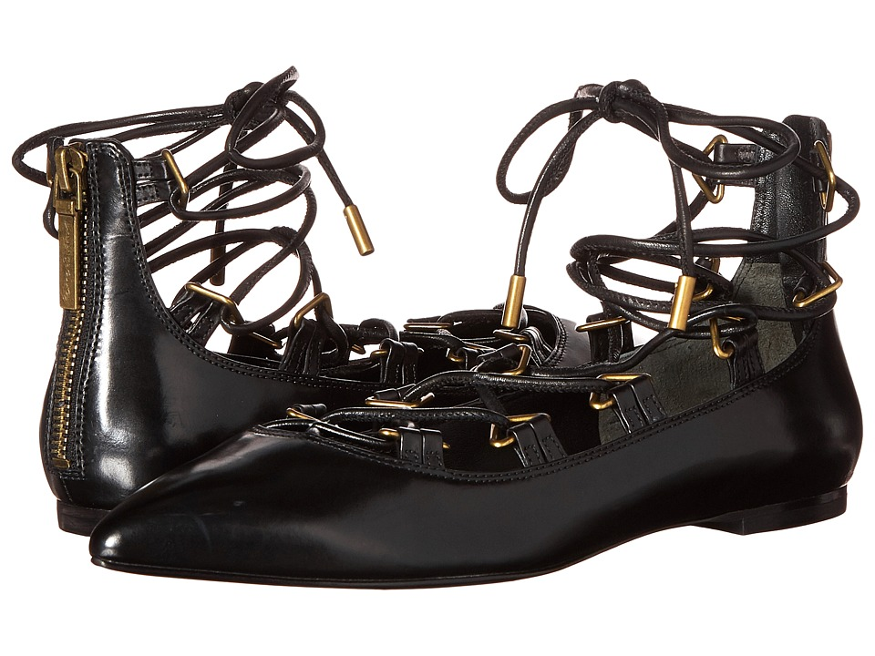 Pierre Balmain - Lace-Up Ballet Flats (Black) Women's Flat Shoes