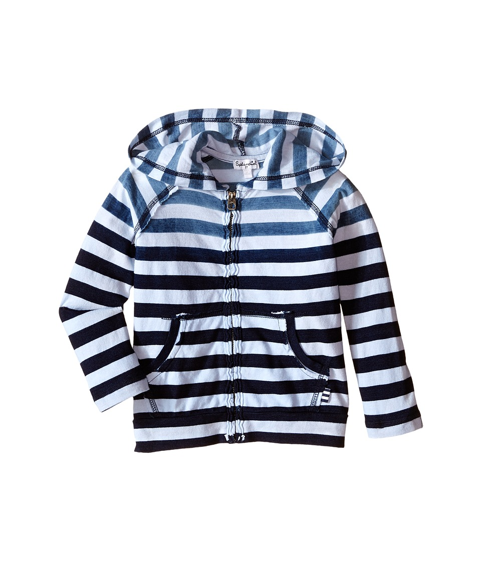 Splendid Littles - Striped Dip Dye Indigo Zip-Up Hoodie (Little Kids/Big Kids) (Stripe) Boy's Sweatshirt