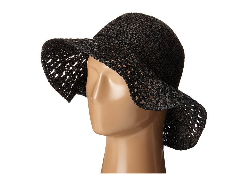 Karen Kane - Raffia Straw Packable Floppy (Black) Caps