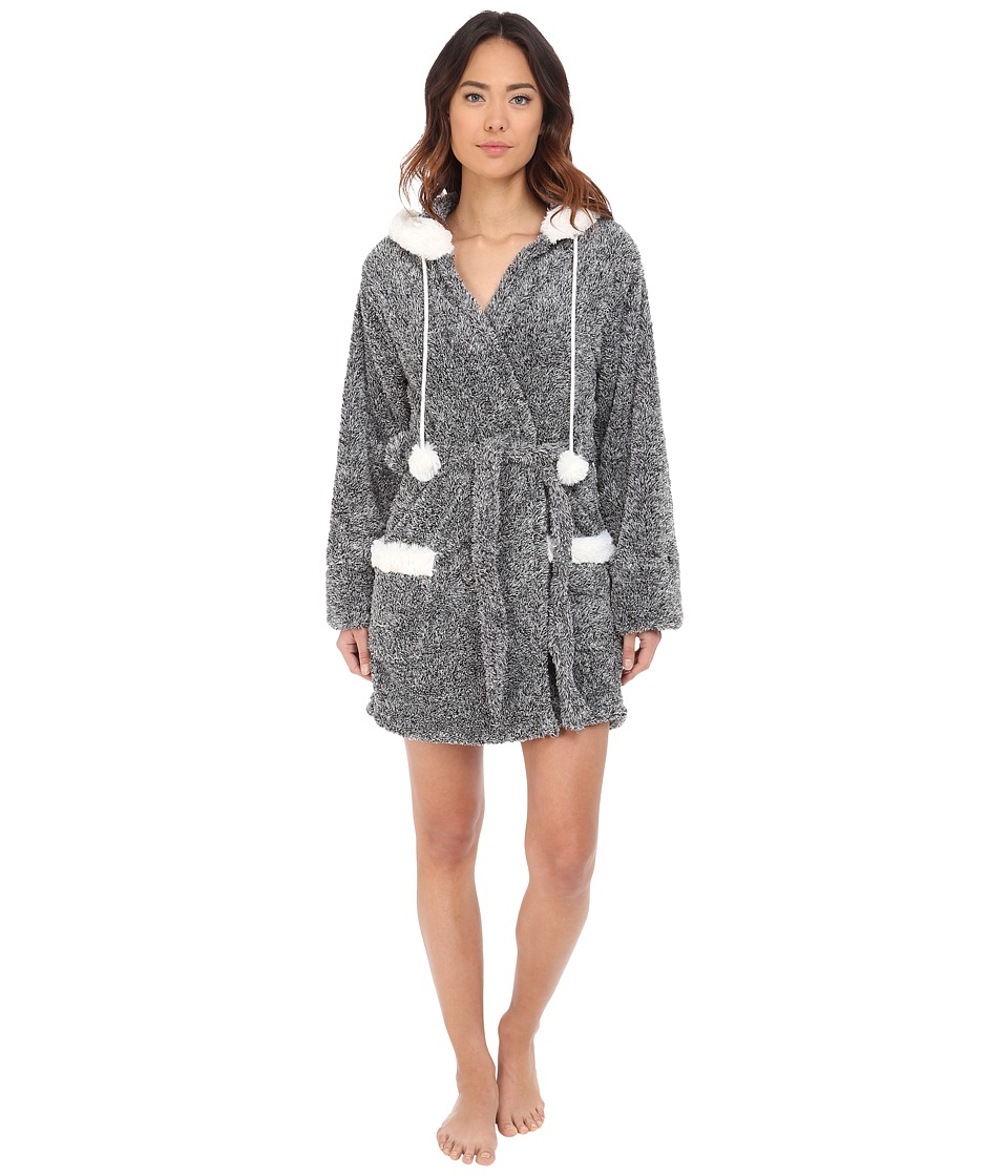 P.J. Salvage - Cozy Pom Pom Robe (Charcoal) Women's Robe
