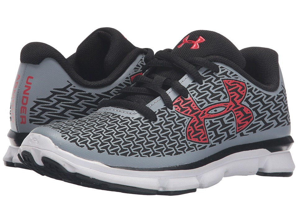 Under Armour Kids - UA BPS Clutchfit Rebelspeed (Little Kid) (Steel/Black/Anthem Red) Boys Shoes
