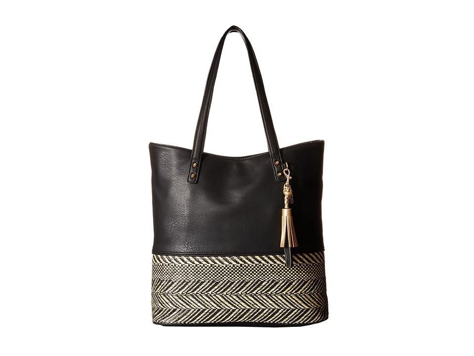 Jessica Simpson - Brandi Tote (Straw Black/Black) Tote Handbags