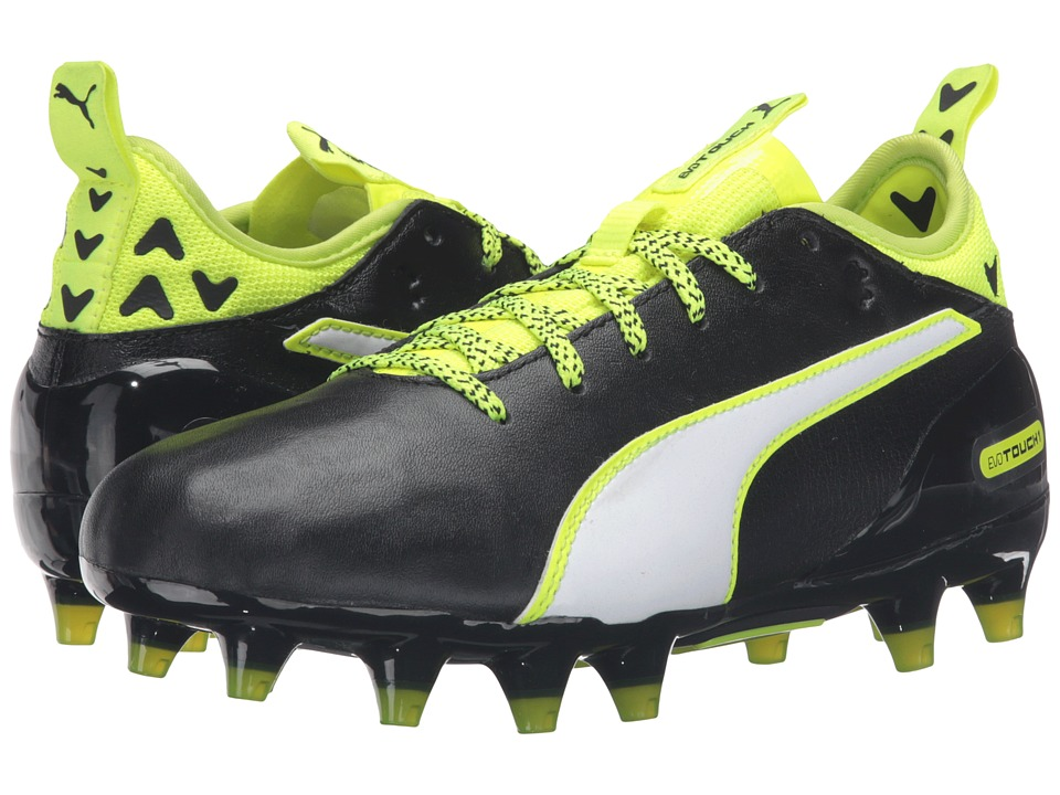Puma Kids evoTOUCH 1 FG Jr Soccer (Big Kid) (Black/White/Safety Yellow) Boys Shoes