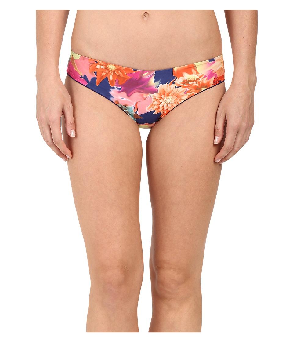 SAHA Selene Reversible Basic Bikini Bottom (Dark and Vibrant Floral/Navy Blue) Women