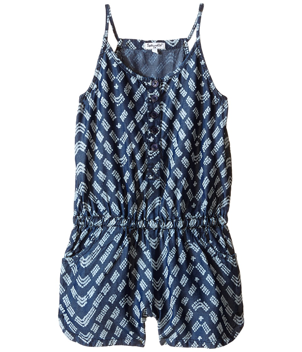 Splendid Littles - Printed Denim Romper (Big Kids) (Dark Stone) Girl's Jumpsuit & Rompers One Piece