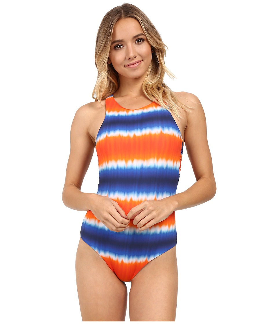 SAHA - Vesta Athletic One-Piece with Feminine Back Detail (Orange/Royal Blue Tie-Dye) Women's Swimsuits One Piece