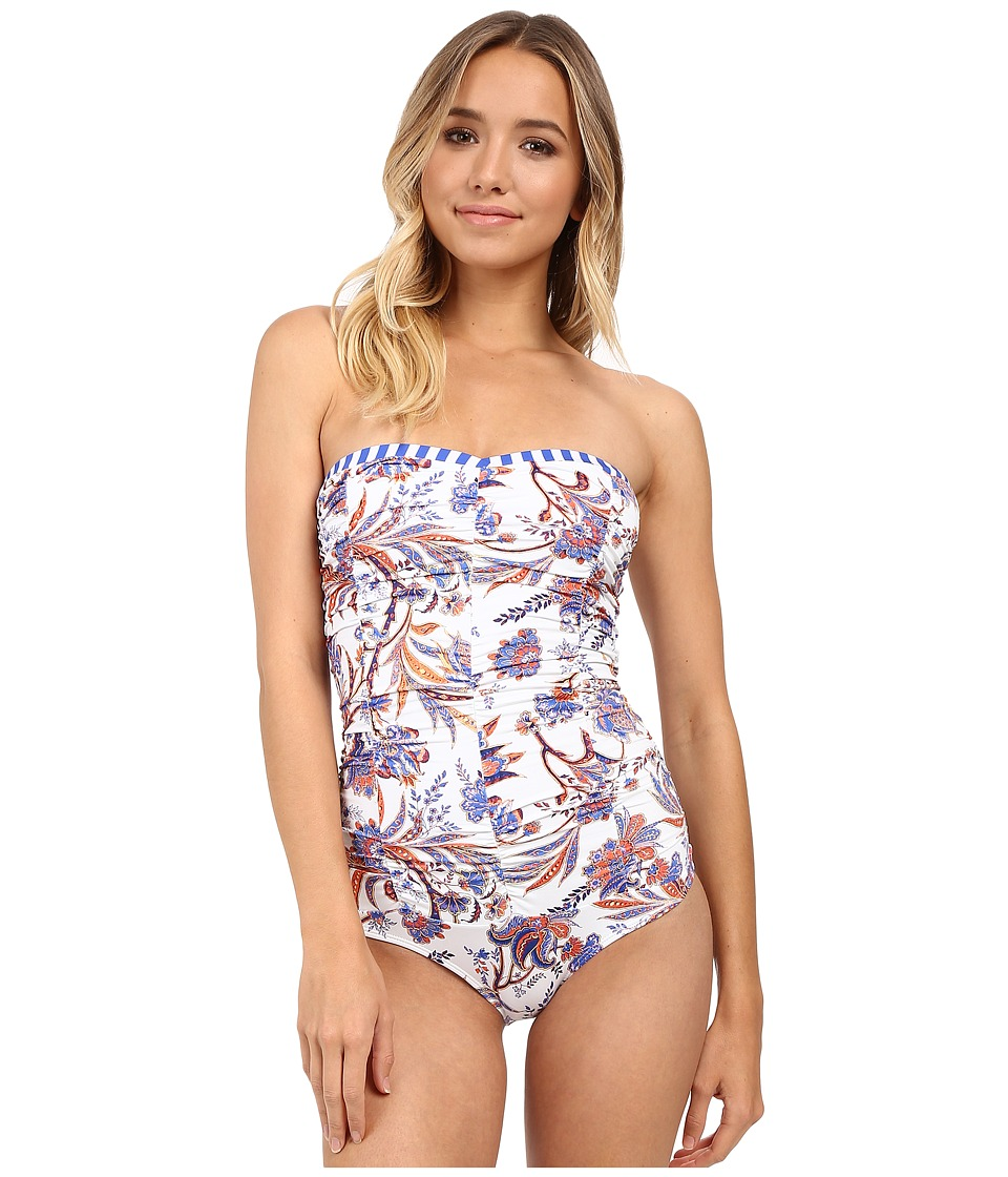 SAHA - Freya Classic Saha Drapped Strapless One-Piece (White/Blue/Orange Floral/Blue/White Straps) Women's Swimsuits One Piece