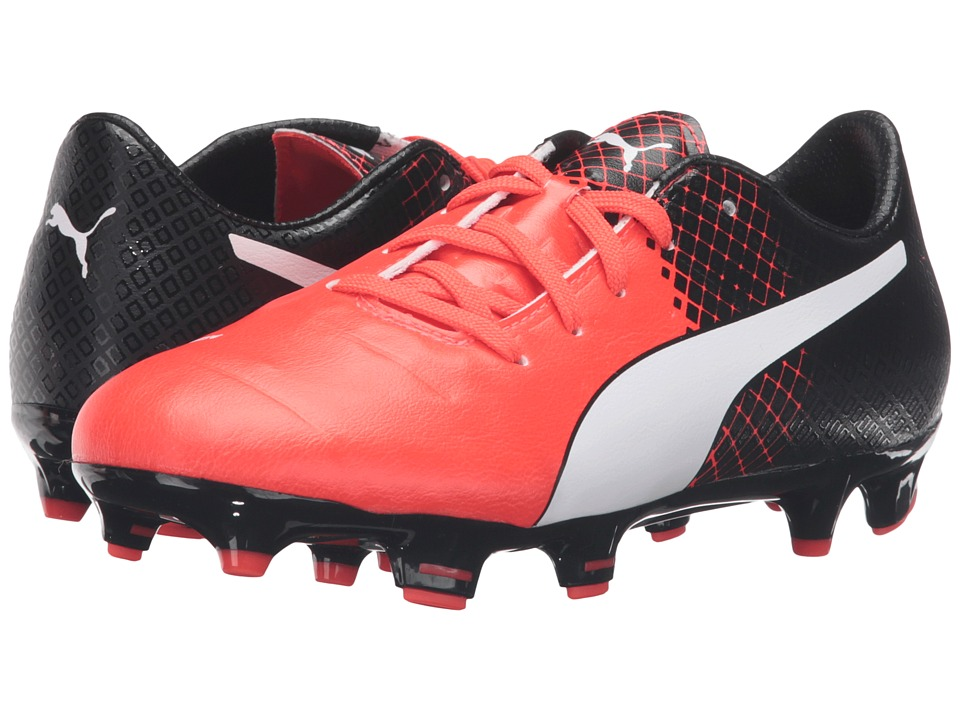 Puma Kids - evoPOWER 1.3 FG Jr Soccer (Little Kid/Big Kid) (Red Blast/Puma White/Puma Black) Boys Shoes