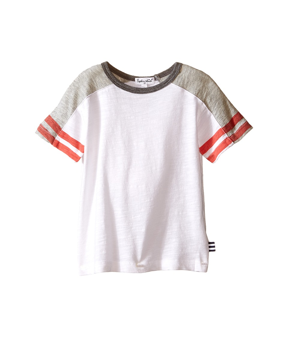 Splendid Littles - Short Sleeve Raglan Crew with Stripe Sleeves (Little Kids/Big Kids) (White) Boy's Short Sleeve Button Up
