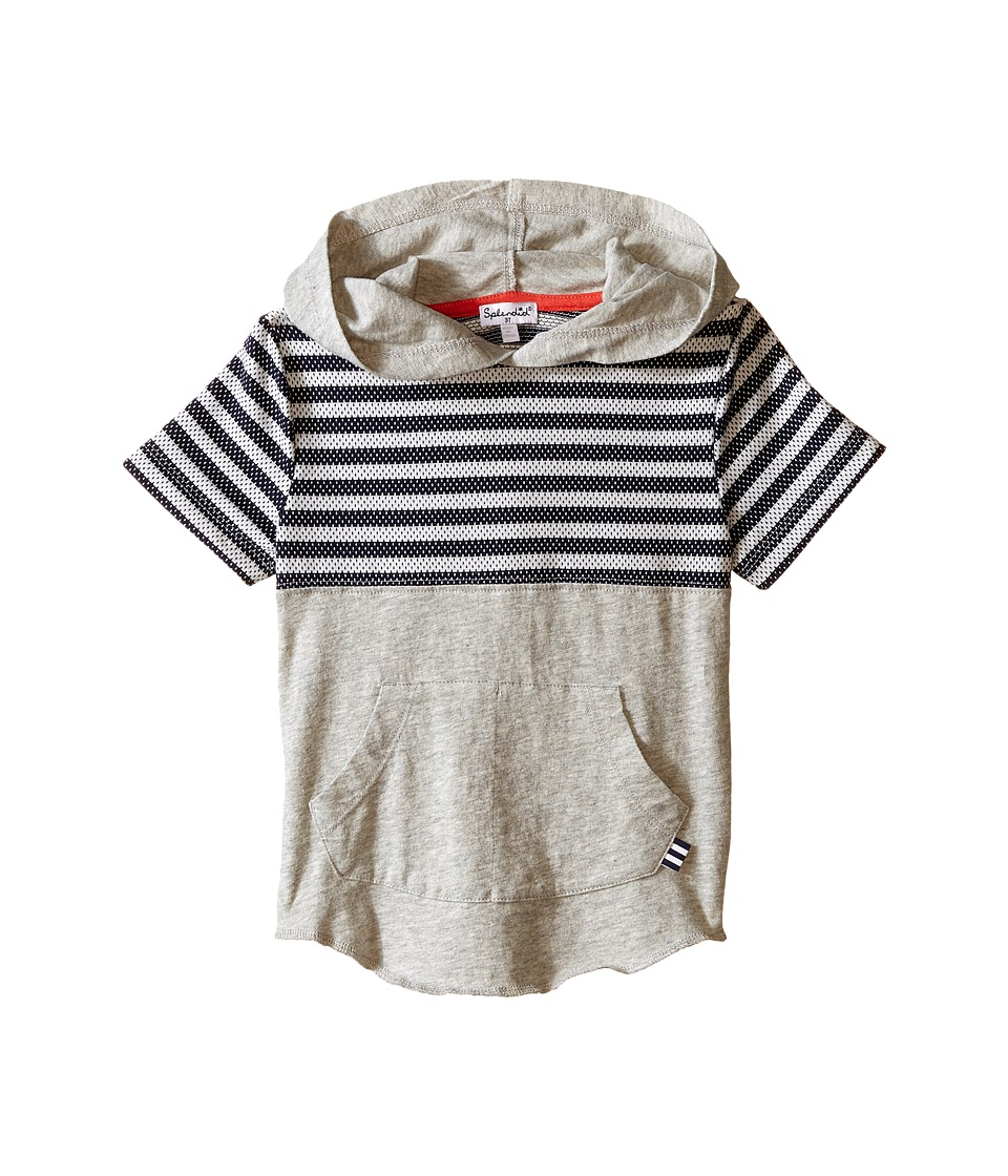 Splendid Littles - Short Sleeve Hoodie with Mesh Striped Panel (Little Kids/Big Kids) (Grey Heather) Boy's Sweatshirt