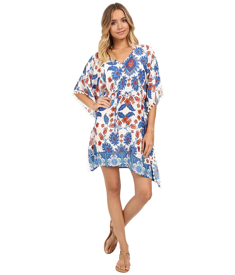 SAHA - Vesta Kaftan with Tassels Cover-Up (White/Blue/Orange Floral) Women's Swimwear