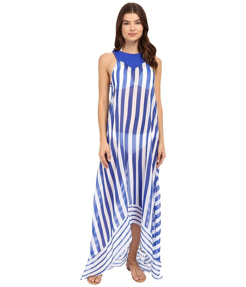 SAHA - Urania Maxi Asymmetric Dress Cover-Up (Blue/White Stripes) Women's Swimwear