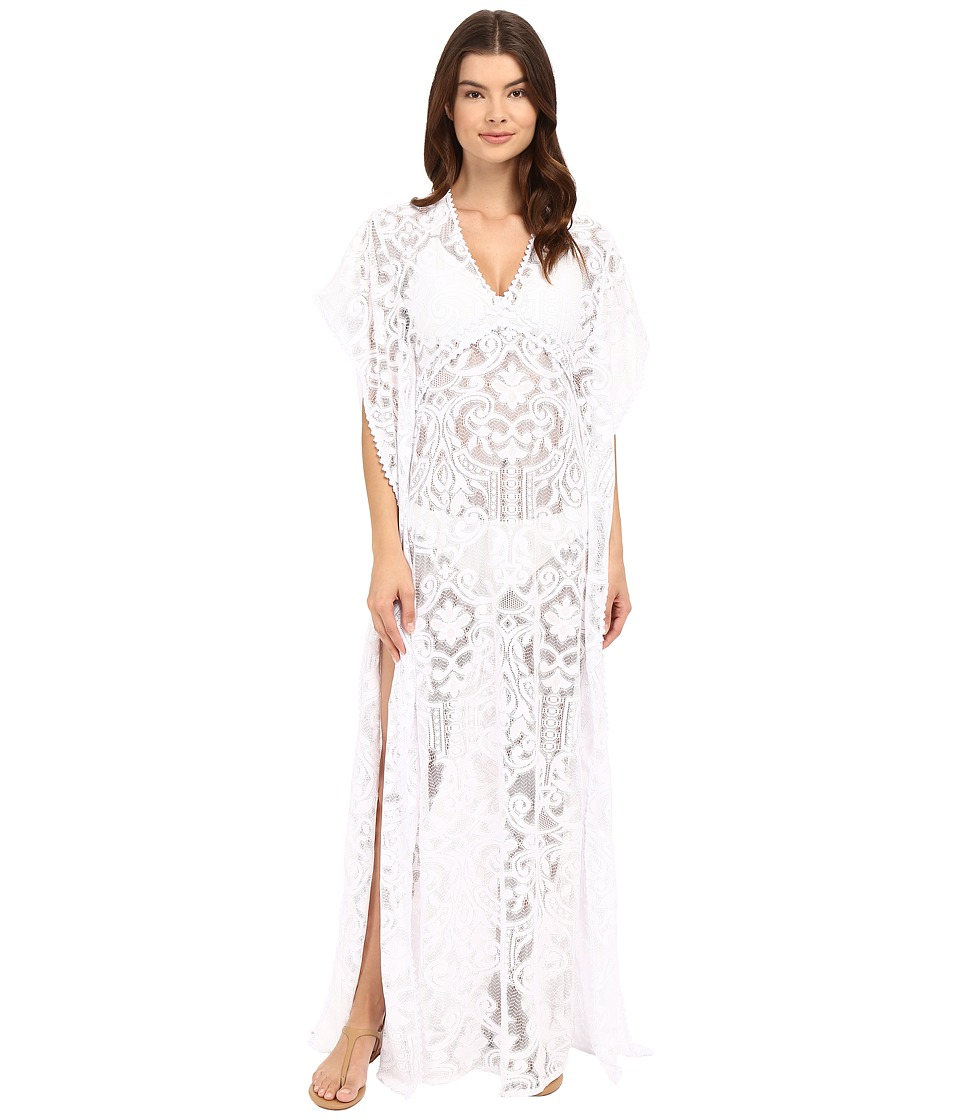 SAHA - Freya Maxi Crochet Dress with Cleavage Cover-Up (White) Women's Swimwear