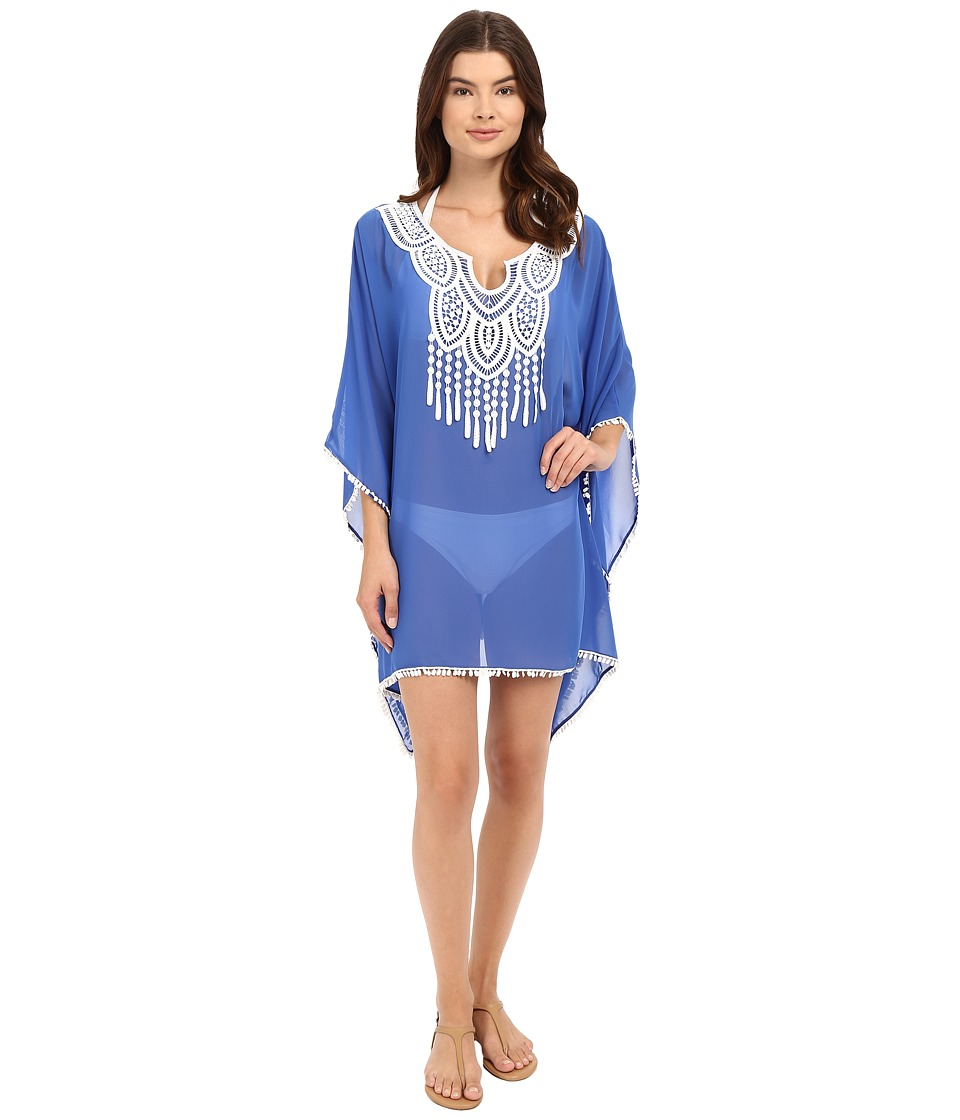 SAHA - Freya Kaftan with Crochet in Front and Tassels Cover-Up (Royal Blue) Women's Swimwear