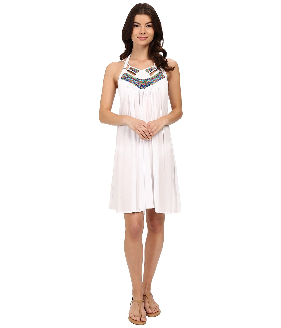 SAHA Iris Short Dress with Embroised Neckline and Low Backline Cover-Up (White/Multicolor Stained Glass Embroidery) Women
