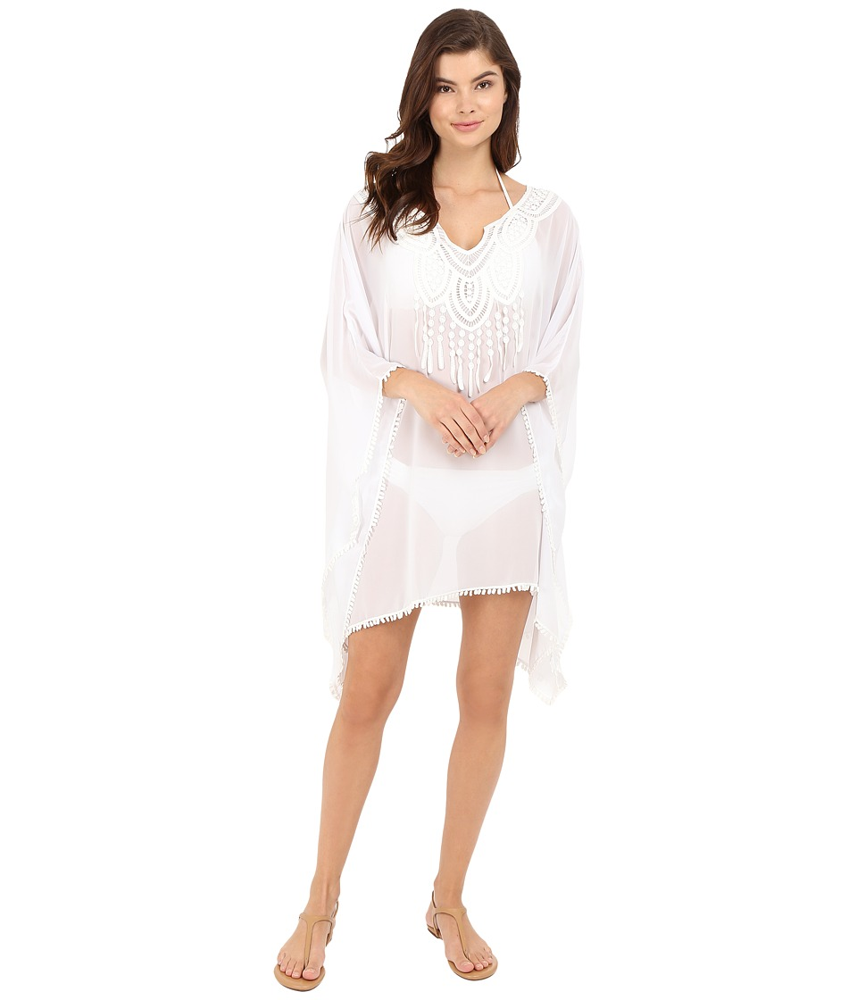 SAHA - Freya Kaftan with Crochet in Front and Tassels Cover-Up (White) Women's Swimwear