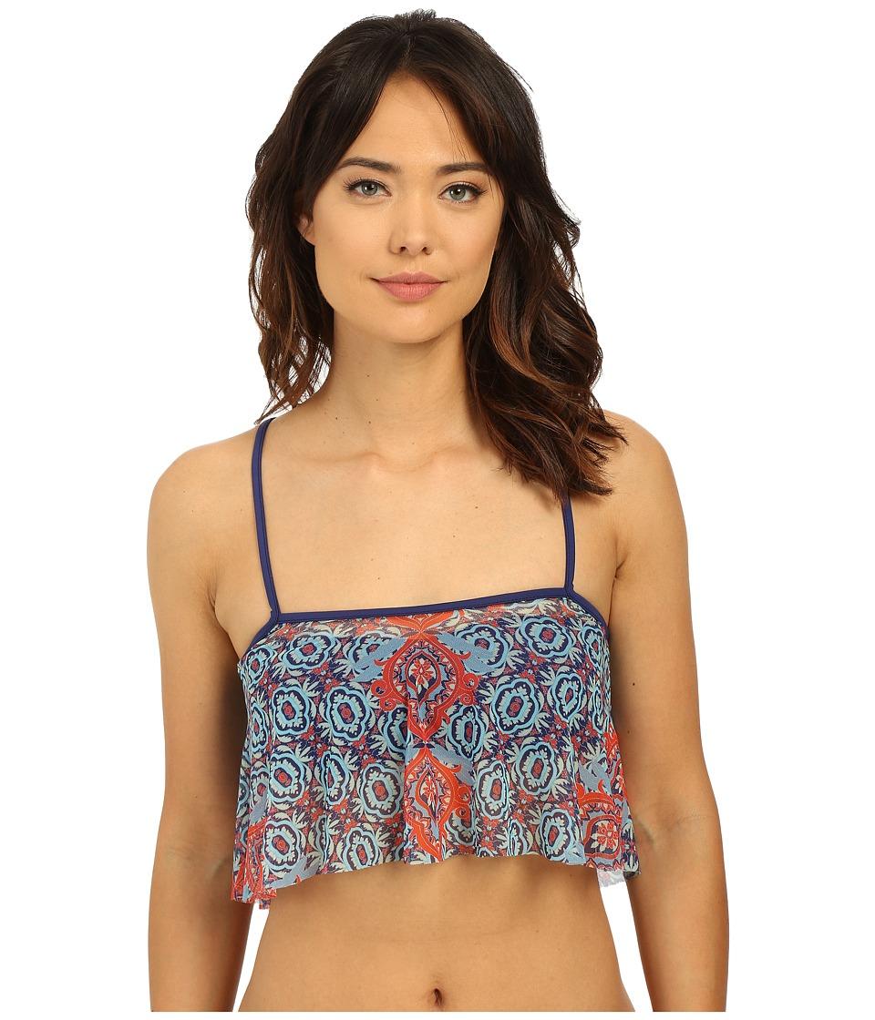 SAHA Juno Bandeau Bikini Top with Removable Mesh Bolero (Navy Blue) Women