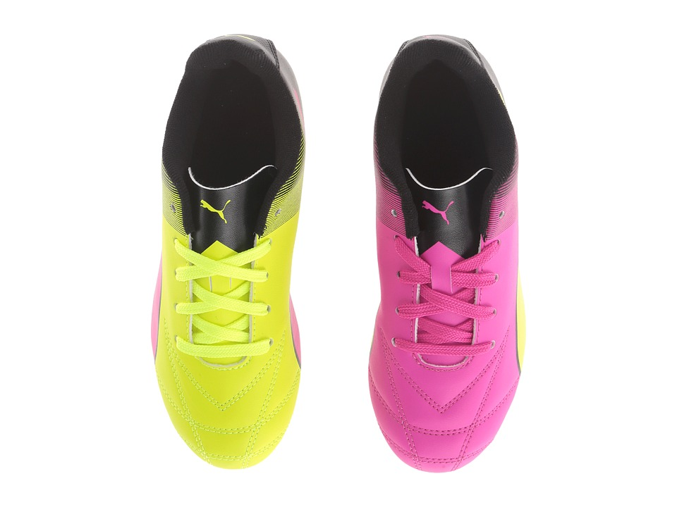 Puma Kids - Adreno II FG Jr Soccer (Little Kid/Big Kid) (Puma Black/Safety Yellow/Pink Glo) Kids Shoes