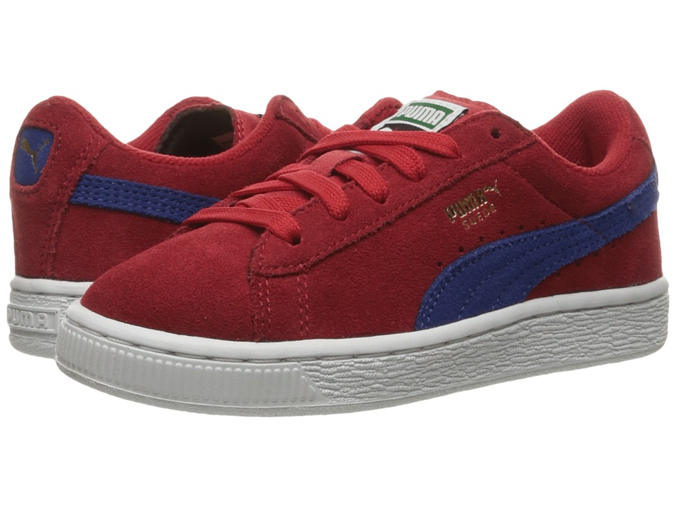 Puma Kids Suede PS (Little Kid/Big Kid) (Barbados Cherry/Mazarine Blue) Boys Shoes