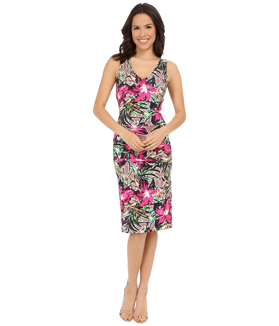 Nicole Miller Batiki Printed Hip Tuck Dress (Multi) Women