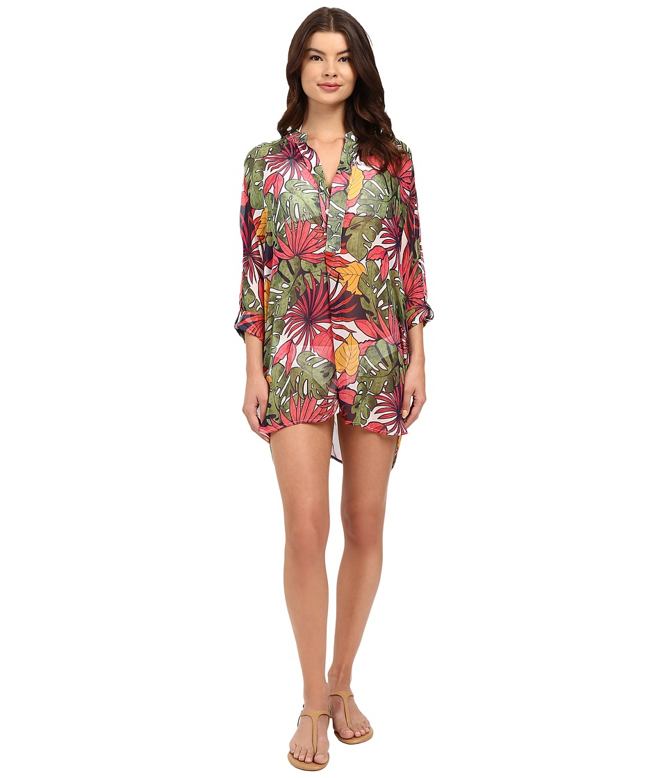 Tommy Bahama - Remy Mandarin Collar Tunic Cover-Up (Multicolor) Women's Swimwear