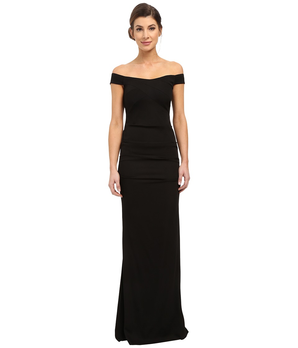 Nicole Miller - Drop Shoulder Gown (Black) Women's Dress