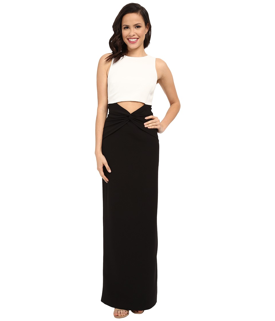 Nicole Miller - Twist Fron Peek-A-Boo Gown (White/Black) Women's Dress