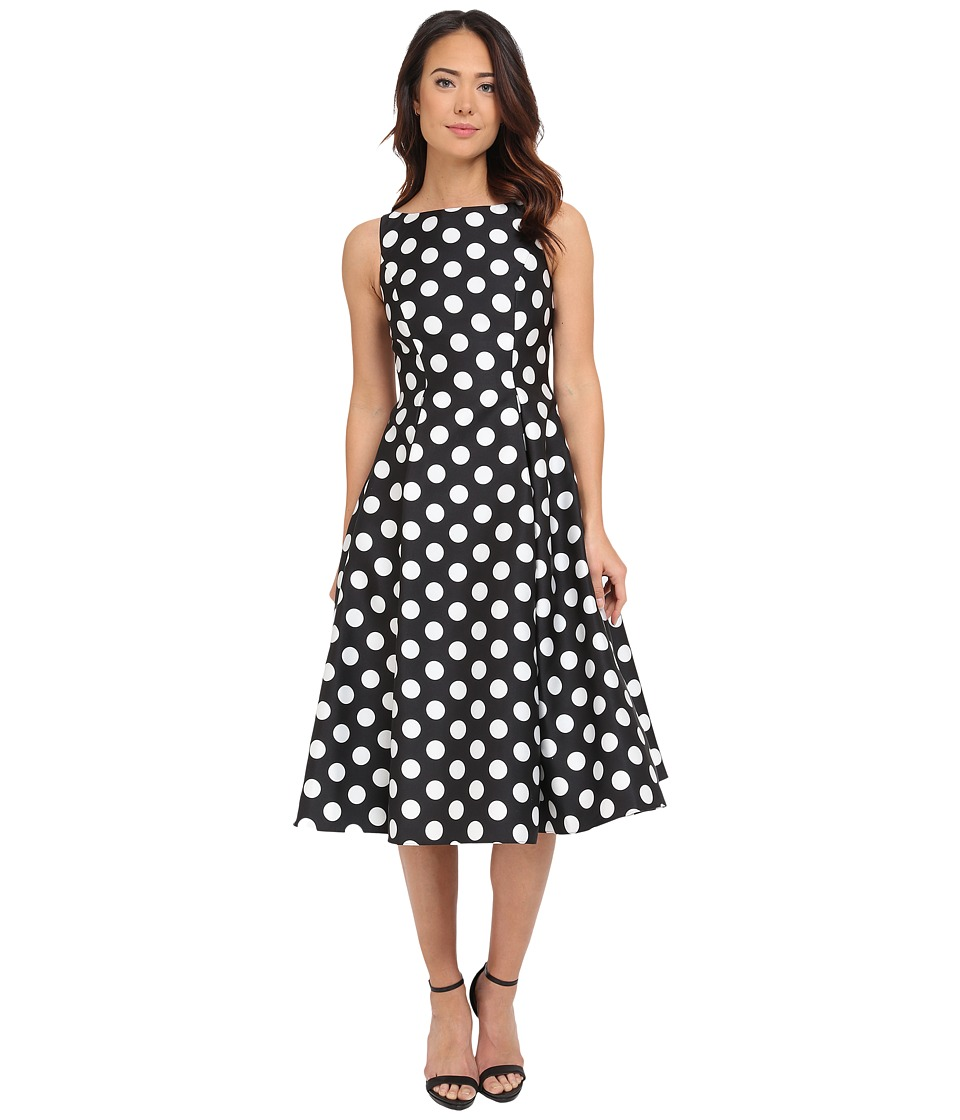 Adrianna Papell - Polka Dot Mikado Tea Length Dress (Black/Ivory) Women's Dress