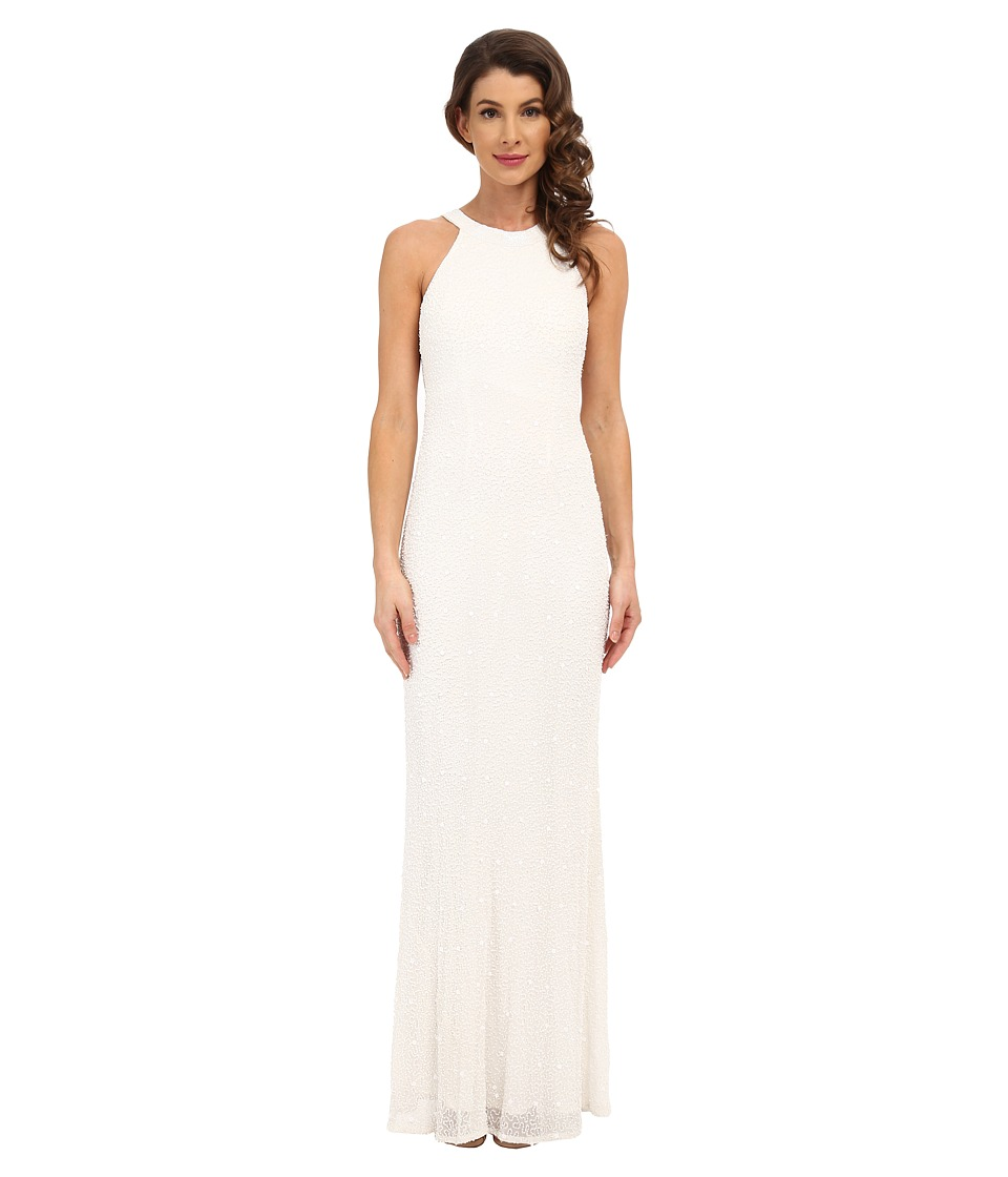 Adrianna Papell Caviar Bead Sheer Back Gown (Ivory) Women