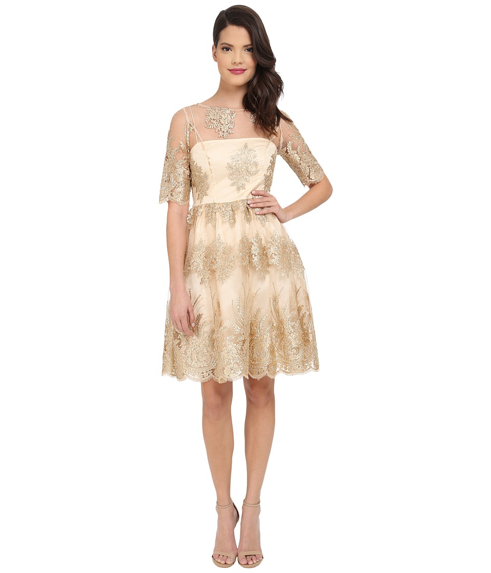 Adrianna Papell - Metallic Corded Lace Party Dress (Gold) Women's Dress