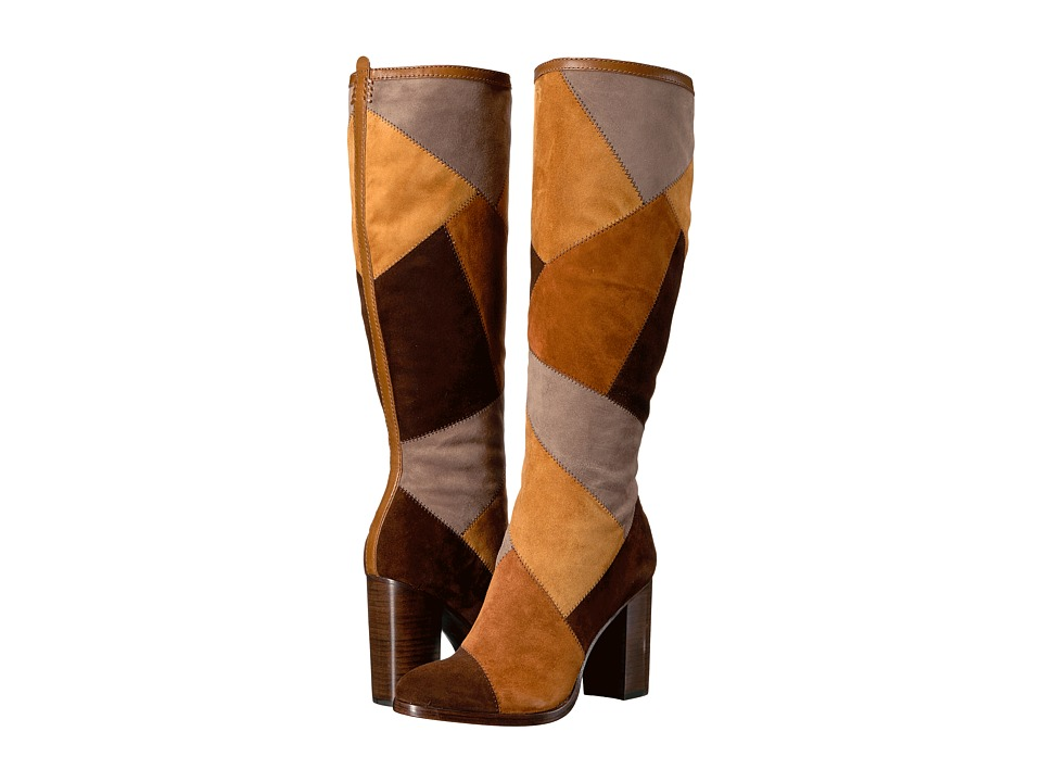 Frye Claude Patchwork Tall (Brown Multi Suede/Smooth Vintage Pull Up) Women