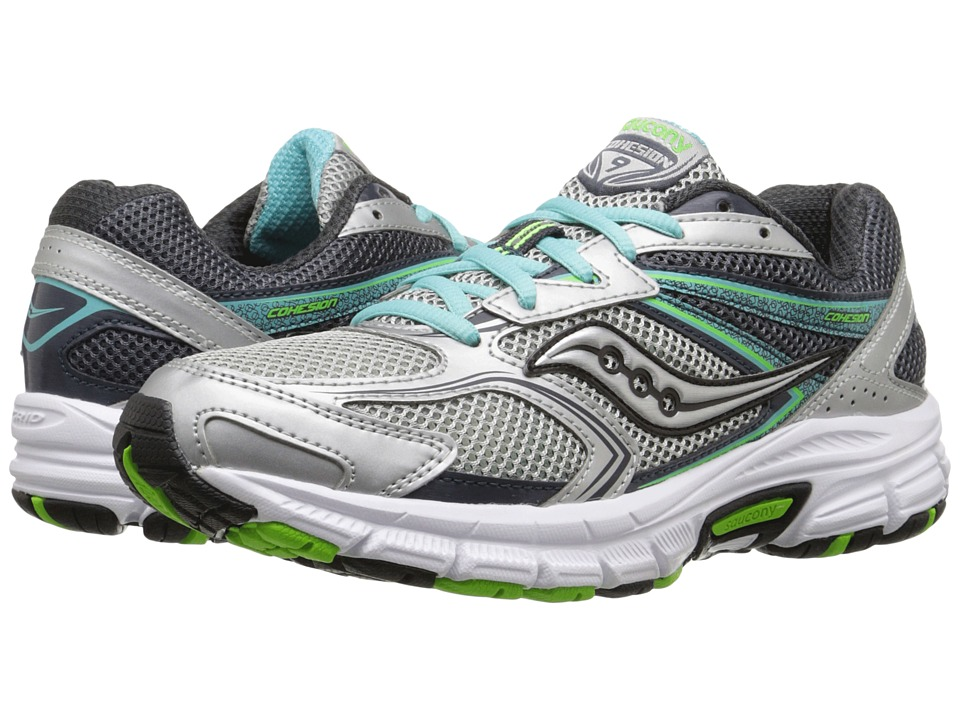 Saucony - Cohesion 9 (Silver/Blue/Slime) Women's Running Shoes
